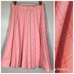 Vintage 1950's Pink Plaid Full Skirt Sock Hop Boho